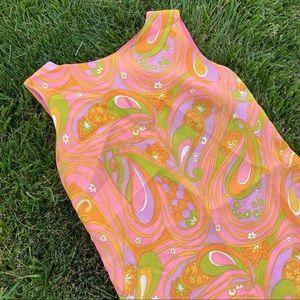 Vintage Dresses - Vtg 50s 60s mood paisley shift dress sm md
